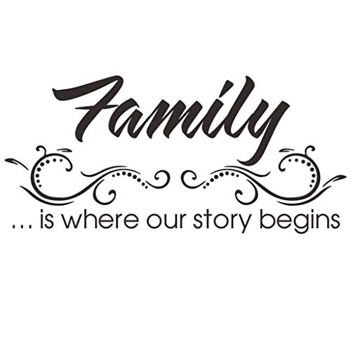 uaswguDFS [Family is Where Our Story Begins] Wall Sticker - Removable Mural, Vinyl Decal Art Sticker, Decor for Kids Bedroom or Birthday Gift, Beautiful Wall Decals for Any Room School]()
