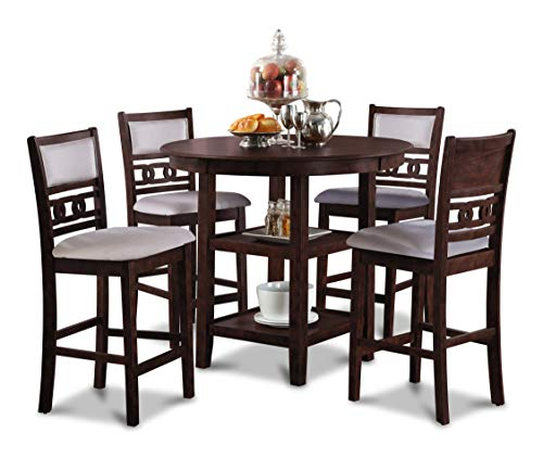 New Classic Furniture D1701-52S-CHY Gia Counter Dining Set, Cherry (Sets Table Inch 42 High Dining)