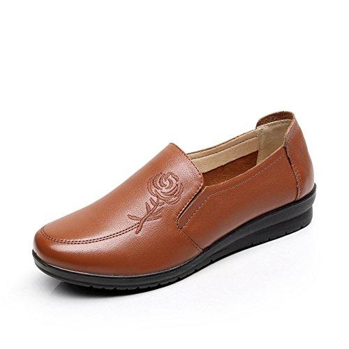 Cuero suave zapatos inferiores/ Primavera zapatos casuales/Plana redonda cabeza zapatos A