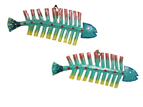 - All Seas Imports Set of (2) Hand-chiseled and Painted Tropical Metal Bonefish Art Wall Decor Fish