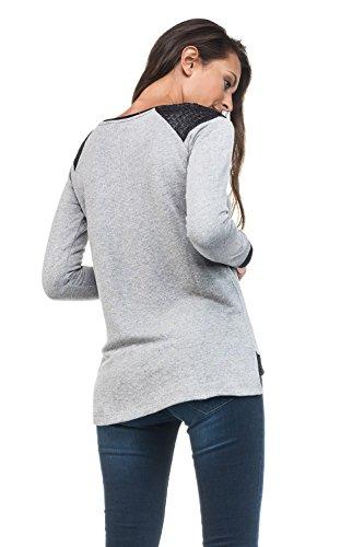 SALSA Camiseta manga larga hombros efecto serpiente Gris