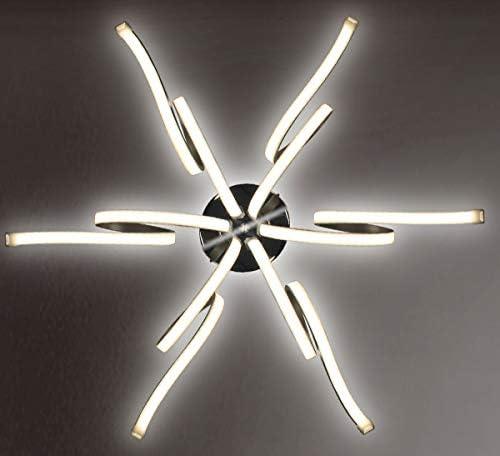 Dimmbar XL LED Deckenlampe Deckenleuchte Kronleuchter Wohnzimmer Neutralwei/ß Luxus Design L/üster Spirale Form 6 Arme Modern 62cm Lewima Merwa
