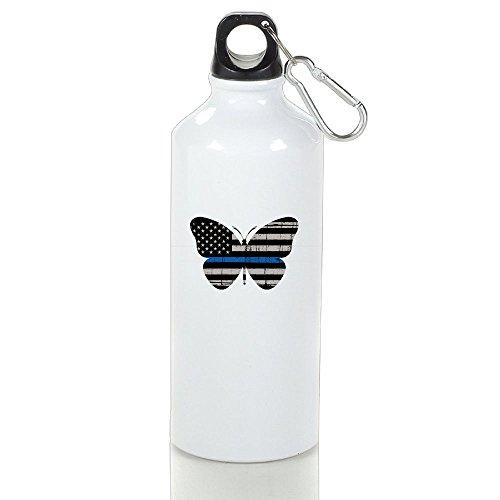 Guizhen Thin Blue Line Butterfly Aluminum Portable Travel Sport Water Bottle (Beach Barbie Halloween Costume)