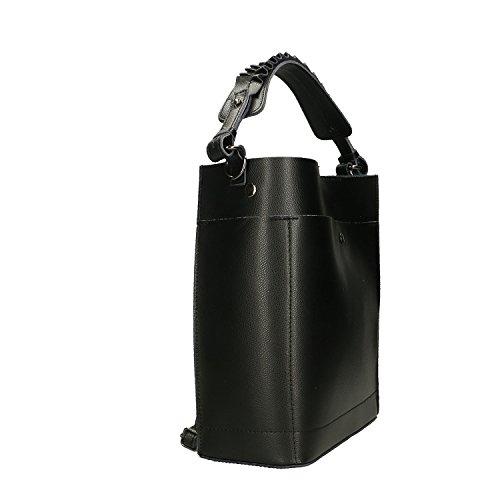 Bolso genuina Borse Chicca piel Italia Cm fabricado 24x28x12 Negro en en Mujer p1R5Rw