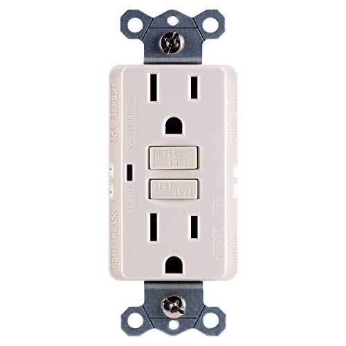 GE GFCI Power Outlet, In-Wall, Self-Testing, Easy to Install, End of Life LED Light Indicator, Indoor & Outdoor, 15A, 120V AC, UL Listed, Light Almond, 32074