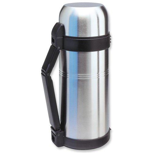 Isosteel VA-9560WQ 51 fl. oz. Double Walled Vacuum Flask, Extra Wide Opening, Plastic Srew Stopper, Quickstop...