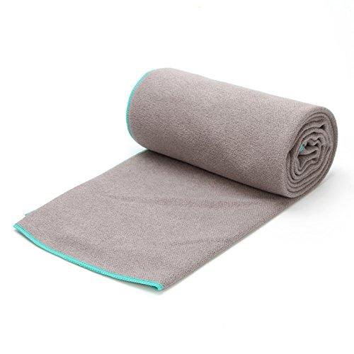 JUNMU Yoga Towel Non Slip,Microfiber Absorbent,Soft Comfortable for Hot Yoga,Pilates Yoga Towel Mat 24x72 Inch