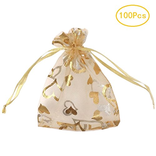 Gold Organza Favor Bags (SumDirect 100Pcs 3.35