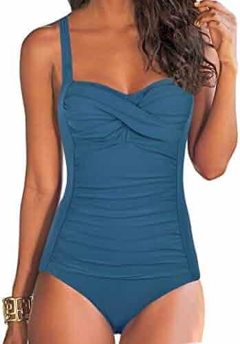 c33461f411 Hilor Women's One Piece Swimsuits Front Twist Bathing Suits Tummy Control  Swimwear Retro Inspired Monokini