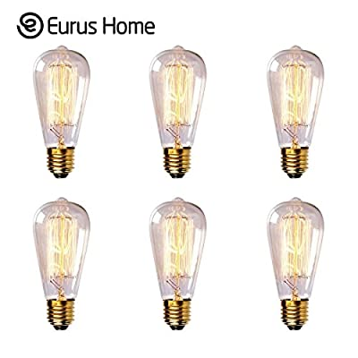 (6Pack) Eurus Home Vintage Edison Bulb - 60w Bright Clear - Antique Squirrel Cage Filment Incandescent Dimmable Style Yellow Light Bulbs - ST58 Teardrop Top - E26 Base - 120V - Indoor Outdoor Best Use