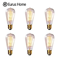 Eurus Home St58 60w Vintage Antique Edison Style Incandescent Clear Glass Light Lamp Bulb (6 Pack)