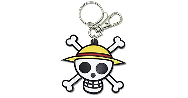 Amazon.com: One Piece: Luffy Logo PVC Llavero Jolly Roger de ...