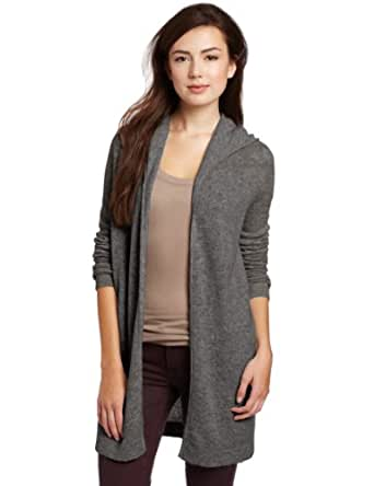 Christopher Fischer Women's 100% Cashmere Solid Featherweight Hooded Sweater, Grey, X-Small