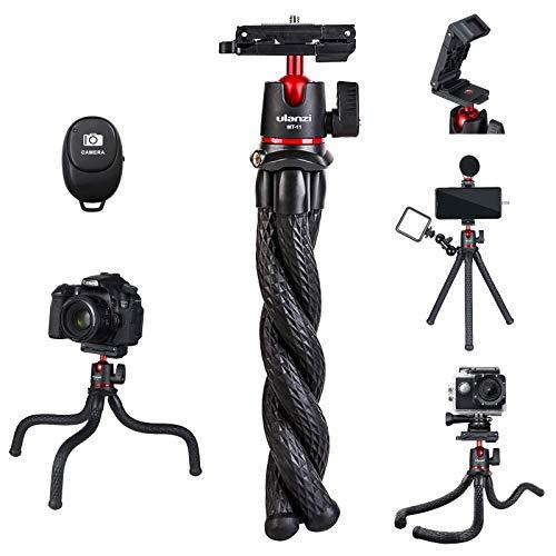 ULANZI Camera Tripod w Remote,3 in 1 Mini Flexible Tripod Stand with Hidden Phone Holder,Cold Shoe Mount,GoPro Adapter,1…