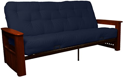 Chicago Storage Arm Style 8-Inch Loft Inner Spring Futon Sofa Sleeper Bed, Full-size, Mahogany Arm Finish, Twill Navy Blue Upholstery ()