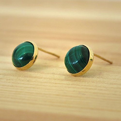 Handmade 14K Solid Gold Malachite Stone Stud Earrings 14k Malachite Stud