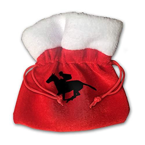 Sfgggerrd Horse Racing Cartoon Reusable Kids Christmas Drawstring Pouches Candy Jewelry Gift Bag Santa Present
