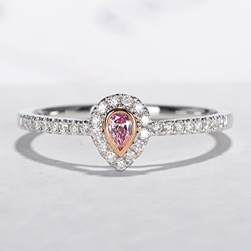 Pink pear diamond engagement ring bridal ring Pink diamond ring bezel set halo set diamonds half eternity ring Micro pave diamond ring Stacking Promise ring by Lennon Jewelry