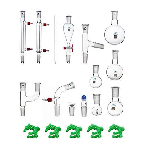 JOANLAB Glass Organic Chemistry Kit 24/40 Lab Glassware Set,19 pcs,Pyrex Laboratory Glassware Distillation