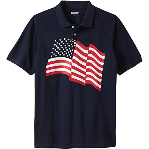 KingSize Men's Big & Tall Americana Polo, Flag Big-3Xl ()