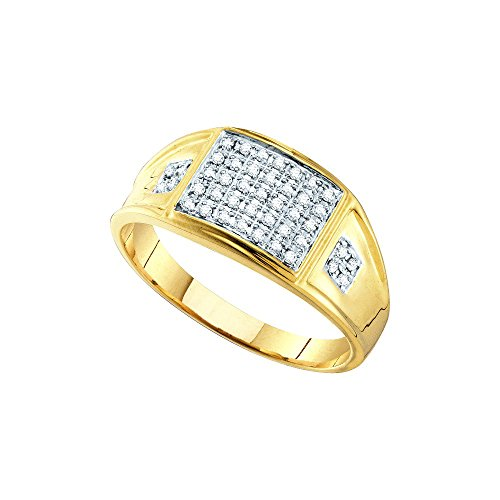 Cluster Diamond Ring Mens (10kt Yellow Gold Mens Round Prong-set Diamond Square Cluster Ring 1/4 Cttw)