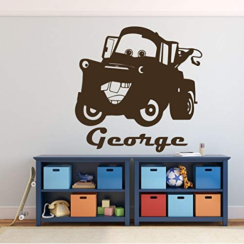 Tow Mater Wall Decal - Disney Pixar Cars Personalized Wall Decor - Removable Vinyl Decoration for Boy's Bedroom, Playroom or Gameroom. Great for Dr. Office Decor