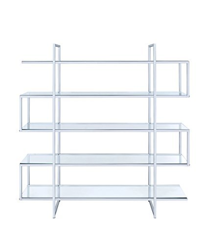 Coaster Home Furnishings 801304 Coaster Contemporary Silver Metal Bookcase with Clear Glass Shelves,