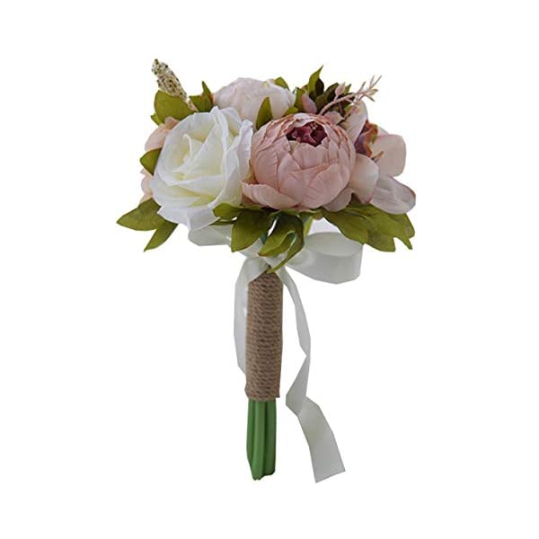 S-SSOY Artificial Romantic Multi Wedding Bouquet, Bridesmaid Holding Bouquet Bride Bridal Bouquets, Rose Bouquet for Wedding Party Church Valentine's Day Birthday Photo Shooting