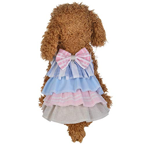 SUNFURA Dog Dresses, Lovely Pull on Closure Small Pet Layered Dress with Bowknot, Pretty Girl Puppy Princess Clothes for Small Dog, Puppy, Cat and Kitten(Pink,L) ()