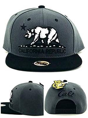 1954 Leader New California Republic Cali Youth Kids Gray Black Era Snapback Hat Cap 19in to 21in Head Size
