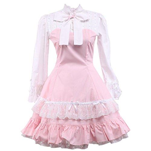 Langarm Damen Kleid Gothic Lolita Frauen Rosa Partiss Lace Pink Victorian wpdFpE