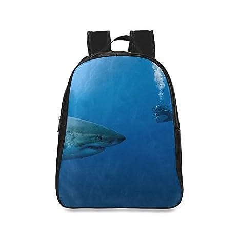 Custom tiburón Casual mochila Colegio mochila escolar viaje Mochila: Amazon.es: Electrónica