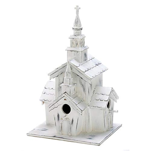 (Shabby White Washed Victorian Style Church Chapel Birdhouse French Country Decor)
