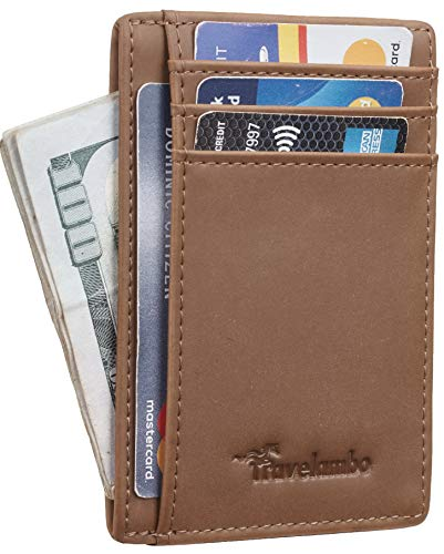 Travelambo Front Pocket Minimalist Leather Slim Wallet RFID Blocking Medium Size(06 crazy horse khaki) (Leather Slim Flap)