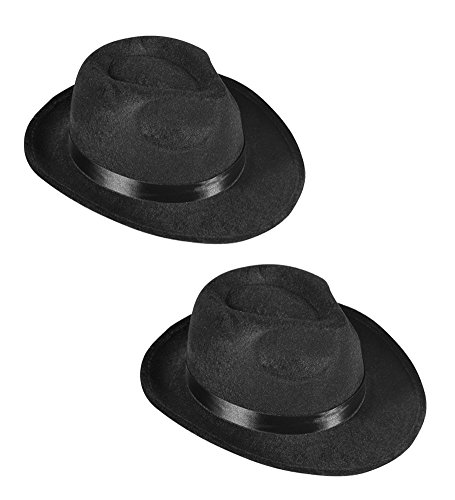 [Black Fedora Gangster Hat Costume Accessory - Pack of 2] (Blues Brothers Hat)