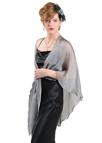 Silver Grey Chiffon Fluttering Triangular Shawl Wrap for Evening Dress by Lena Moro