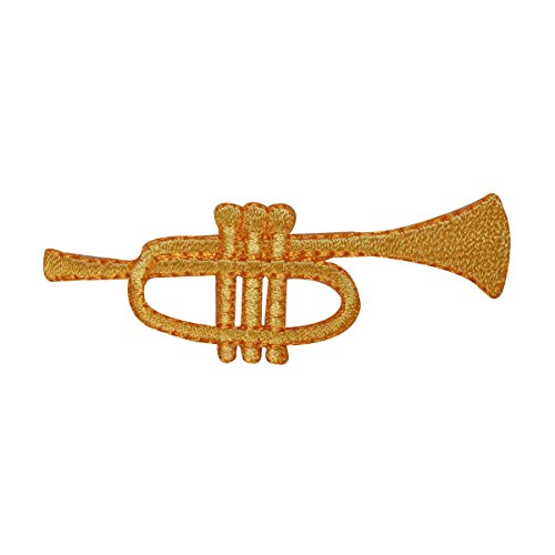 (ID 3161 Trumpet Symbol Patch Music Instrument Play Embroidered Iron On Applique)