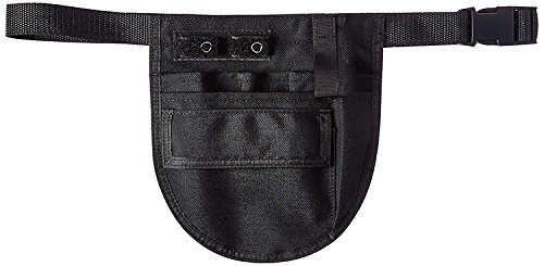 (EMI BLACK Nylon Medical Nurse Apron Pocket Organizer with Belt- Size Small)