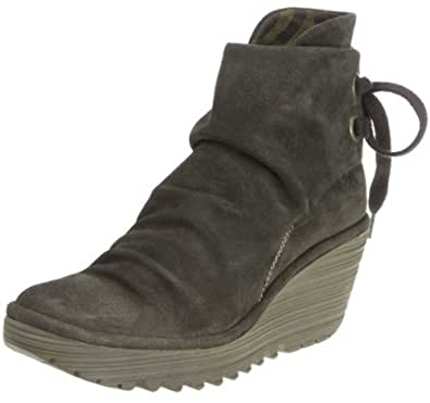 Fly london Yama Khaki Suede New Womens Wedge Ankle Shoes Boots-7