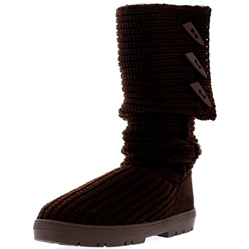 Knitted Boot Snow Warm Holly Womens Short Rain Winter Boots Knitted Waterproof Snow Brown AqxRtxH