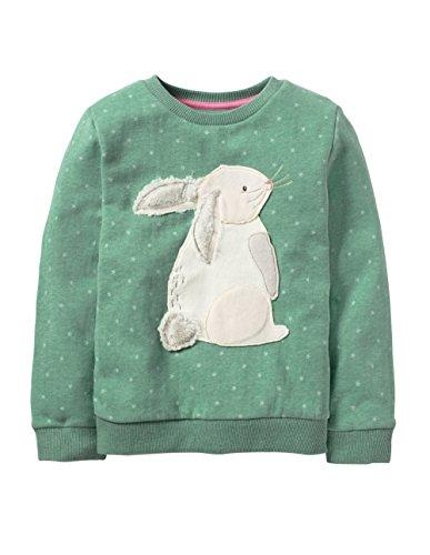 HUAER&& Baby Girl Cotton Long Sleeved Pullover Sweatshirt (2T(Height:35inch/90cm), Green & (Rabbit Kids Sweatshirt)