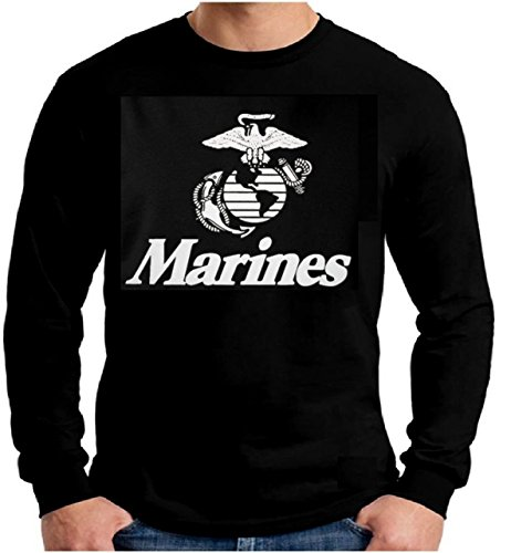 Lucky Ride US Marines Long Sleeve T-Shirt USMC Marine Corps, Black, X-Large