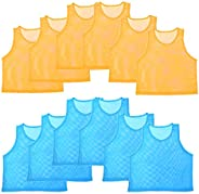 Nylon Mesh Scrimmage Team Practice Vests Jerseys for Children Youth Sports Basketball, Soccer, Football, Volle