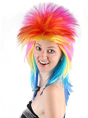 80's Pizazz Rocker Wig Fancy Dress Spiked Punk Metal Rocker Mullet Wig Unisex Costume Fashion Synthetic Hair Wig Fiber Party Halloween Anime Cosplay Wig Fit Adult Men Women