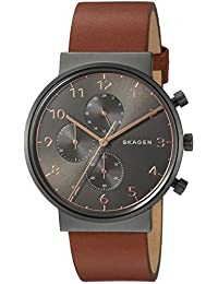 Skagen Men's 'Ancher' Quartz Stainless Steel and Leather Casual Watch, Color:Brown (Model: SKW6418)