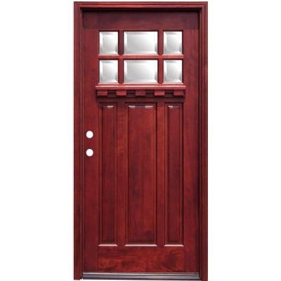 Entry Mahogany (Crestline Craftsman 6 Lite Stained Mahogany Wood Entry Door with Dentil Shelf)