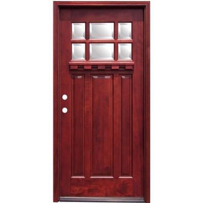 Crestline Craftsman 6 Lite Stained Mahogany Wood Entry Door with Dentil Shelf
