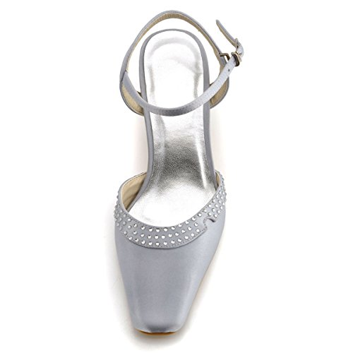 ElegantPark Women EP11033 Square Toe Low Heel Rhinestones Buckle Satin Wedding Bridal Shoes Silver EPCVyd