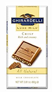 Ghirardelli Chocolate Luxe Milk Bar, Crisp, 2.81-Ounce Bars (Pack of 6)