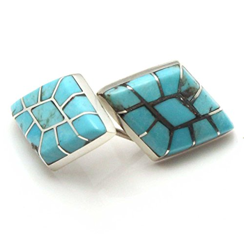 Turquoise Channel Inlay Stud Earrings by Epaloose | 3/4